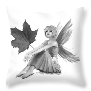 Crimson King Maple Fairy With Leaf B And W Throw Pillow
