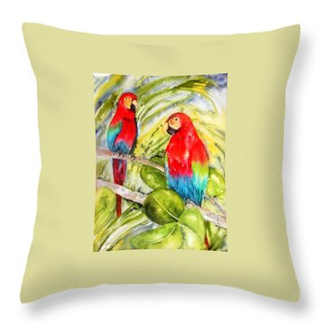 Crimson Macaws Throw Pillow