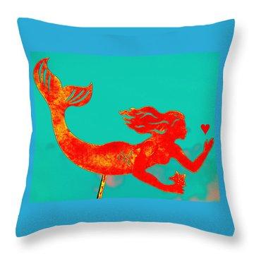 Crimson Mermaid Throw Pillow