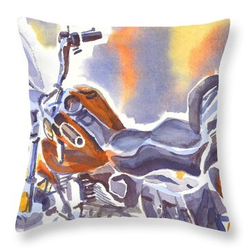 Crimson Motorcycle In Watercolor Throw Pillow