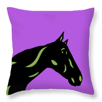 Crimson - Pop Art Horse - Black, Greenery, Purple Throw Pillow