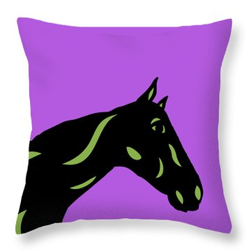 Crimson - Pop Art Horse - Black, Greenery, Purple Throw Pillow
