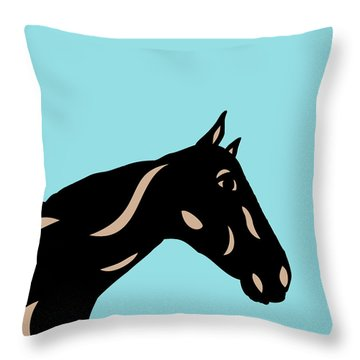 Crimson - Pop Art Horse - Black, Hazelnut, Island Paradise Blue Throw Pillow