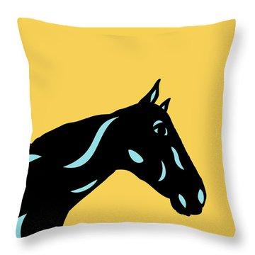 Crimson - Pop Art Horse - Black, Island Paradise Blue, Primrose Yellow Throw Pillow