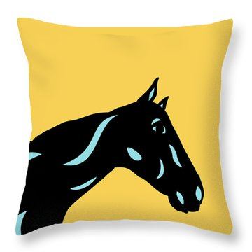 Crimson - Pop Art Horse - Black, Island Paradise Blue, Primrose Yellow Throw Pillow