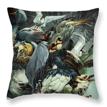Crimson Ribbon Throw Pillow by Heather Theurer