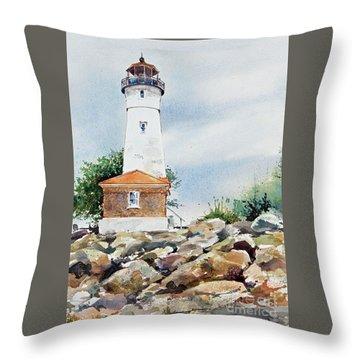 Crisp Lighthouse Throw Pillow