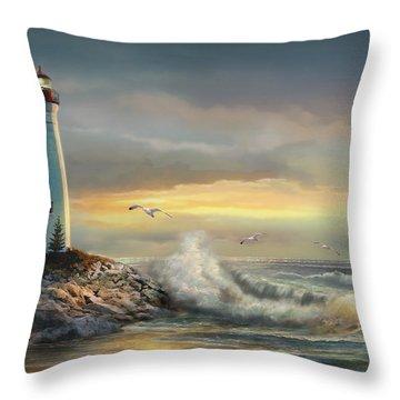 Crisp Point Lighthouse At Sunset  Throw Pillow