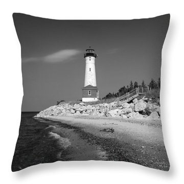 Crisp Point Lighthouse Throw Pillow