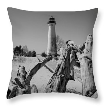 Crisp Point Lighthouse With Driftwood Throw Pillow