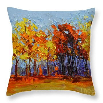 Throw Pillow featuring the painting Crispy Autumn Day Landscape Forest Trees - Modern Impressionist Knife Palette Oil Painting by Patricia Awapara