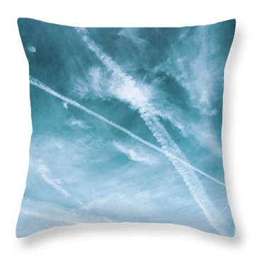 Throw Pillow featuring the photograph Criss-cross Sky by Colleen Kammerer