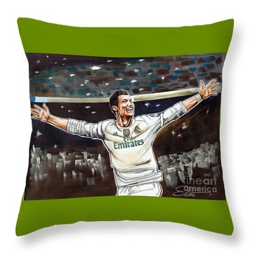 Cristiano Ronaldo Of Real Madrid Throw Pillow by Dave Olsen
