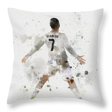 Cristiano Ronaldo Throw Pillow by Rebecca Jenkins
