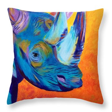 Critically Endangered Black Rhino Throw Pillow