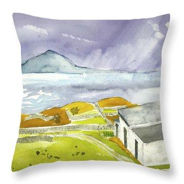 Croagh Patrick And Purple Sky Throw Pillow