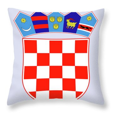 Throw Pillow featuring the drawing Croatia Coat Of Arms by Movie Poster Prints