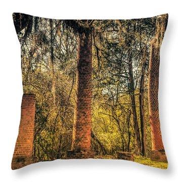 Crocheron Columns Old Cahawba Throw Pillow by Phillip Burrow
