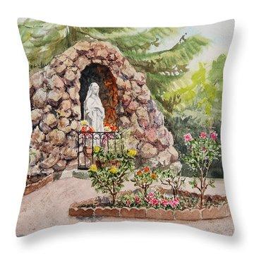 Crockett California Saint Rose Of Lima Church Grotto Throw Pillow