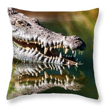 Crocodile With Sharp Teeth Throw Pillow