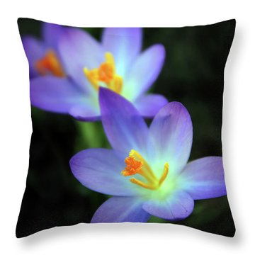 Throw Pillow featuring the photograph Crocus In Bloom by Jessica Jenney