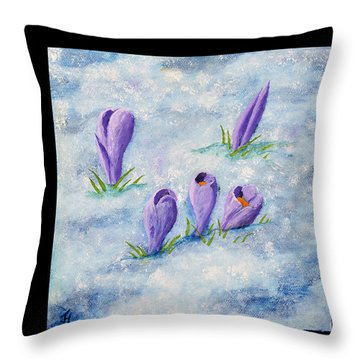 Crocus In The Snow Throw Pillow