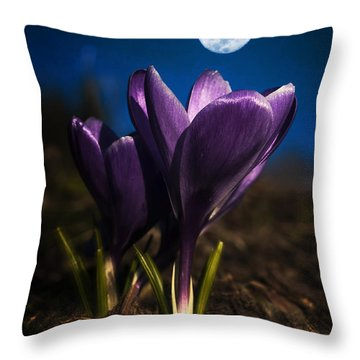 Crocus Moon Throw Pillow
