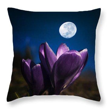 Crocus Moon Throw Pillow