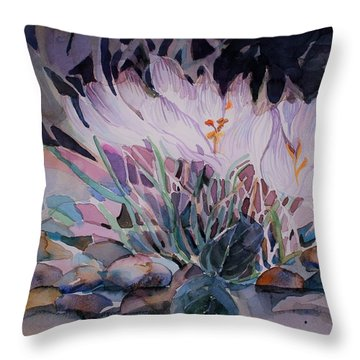Throw Pillow featuring the painting Crocuses by Mindy Newman