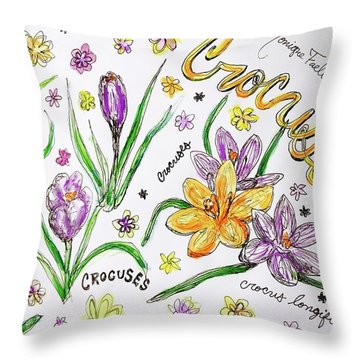 Throw Pillow featuring the painting Crocuses by Monique Faella