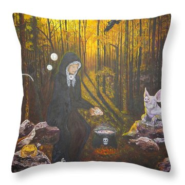 Crone Goddess Keridwen - Samhain Throw Pillow