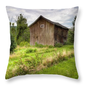 Throw Pillow featuring the photograph Crooked Old Barn On South 21 - Finger Lakes New York State by Gary Heller
