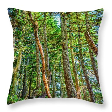 Crooked Trees Of Mt Roberts Throw Pillow