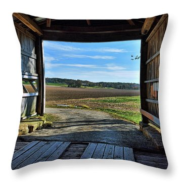Crooks Covered Bridge 2 Throw Pillow by Joanne Coyle