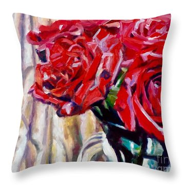 Crimson  Petals Throw Pillow by Rebecca Glaze