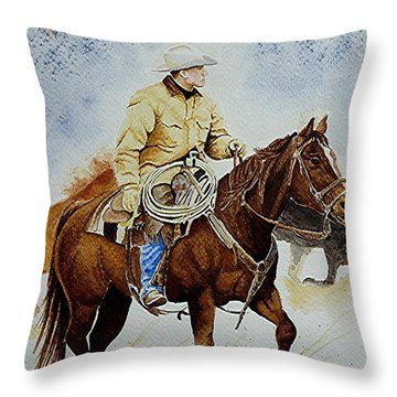 Cropped Ranch Rider Throw Pillow by Jimmy Smith