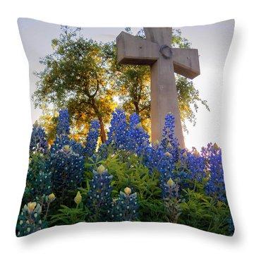 Da225 Cross And Texas Bluebonnets Daniel Adams Throw Pillow