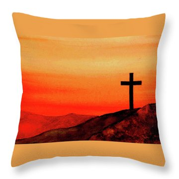 Cross At Sunset Throw Pillow by Michael Vigliotti
