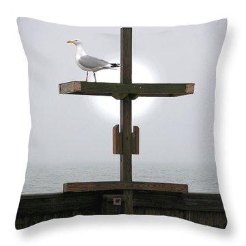 Cross At West Dennis Beach Throw Pillow