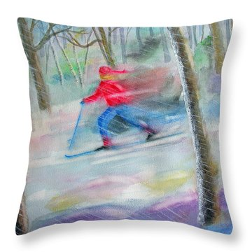 Cross Country Ski Throw Pillow by Robert P Hedden