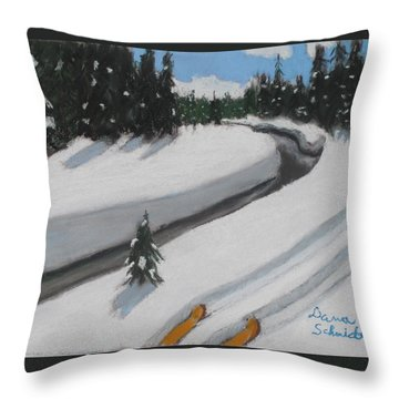 Cross Country Skiing Lone Star Geyser Trail In Yellowstone Nat. Park Throw Pillow