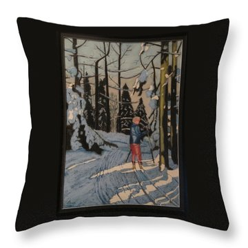 Cross Country Skiing In Upstate Ny Throw Pillow
