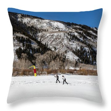 Cross-county Skiers Outside Aspen Throw Pillow