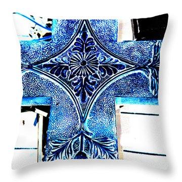 Cross In Blue Throw Pillow