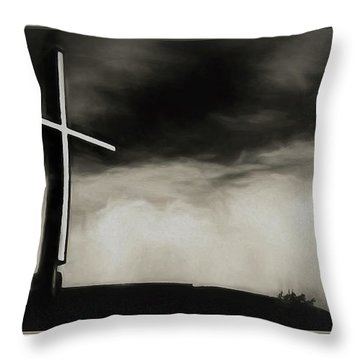 Cross On A Hill Throw Pillow