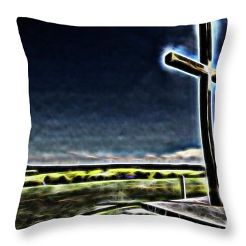 Throw Pillow featuring the photograph Cross On The Hill by Douglas Barnard