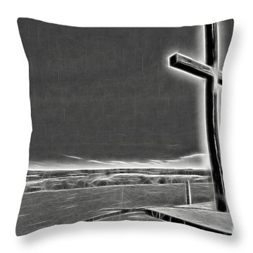Throw Pillow featuring the photograph Cross On The Hill V2 by Douglas Barnard