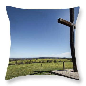 Throw Pillow featuring the photograph Cross On The Hill V3 by Douglas Barnard