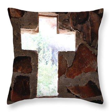 Cross Shaped Window In Chapel  Throw Pillow
