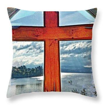 Cross Window Lake View  Throw Pillow